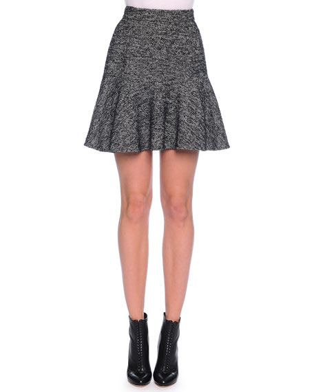 Dolce & Gabbana Fit-and-Flare Tweed Skirt, Dark Gray