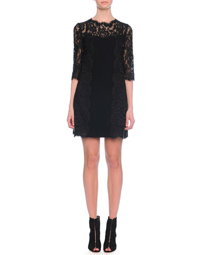 Half-Sleeve Lace Shift Dress