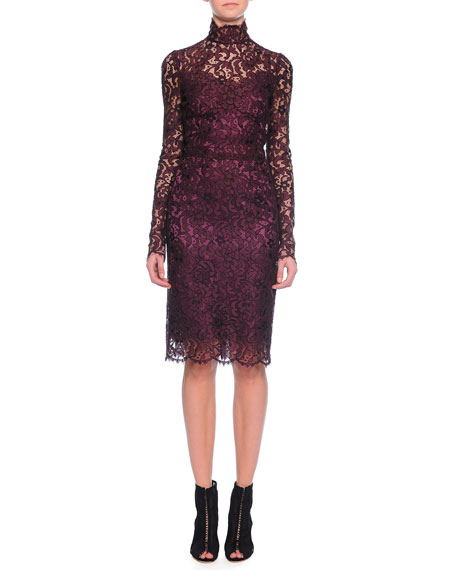 Dolce & Gabbana Long-Sleeve Floral-Lace Scalloped Sheath Dress,