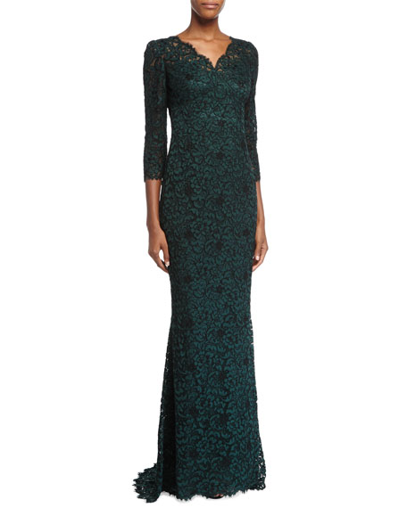 Dolce & Gabbana 3/4-Sleeve Lace Gown, Dark Green