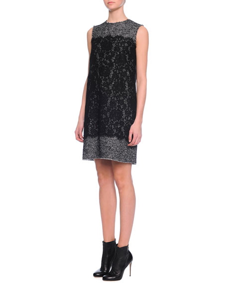 Dolce & Gabbana Sleeveless Jewel-Neck Combo Shift Dress