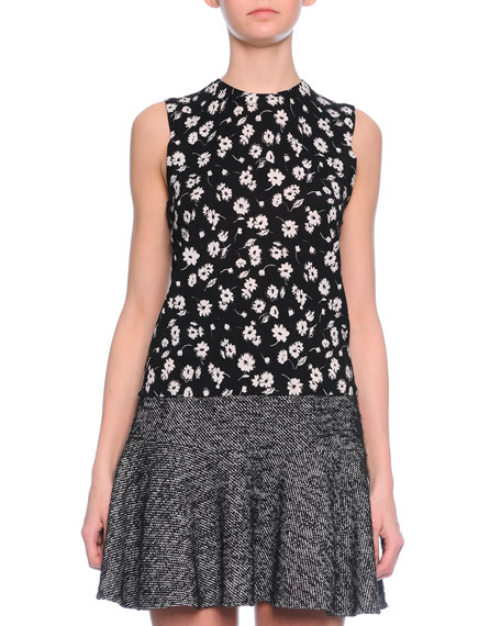 Dolce & Gabbana Floral-Print Shell Top, Black/White