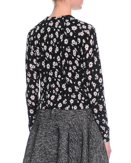 Floral-Print Cashmere/Silk Cardigan, Black/White