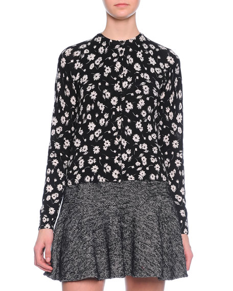 Floral-Print Cashmere/Silk Cardigan, Black/White
