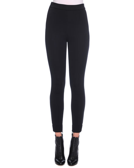 Dolce & Gabbana Ankle-Zip Leggings, Black