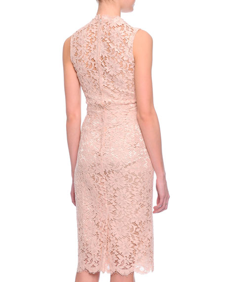 Scalloped Floral Lace Sheath Dress
