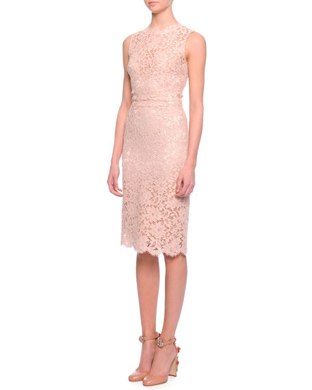 Dolce & Gabbana Scalloped Floral Lace Sheath Dress