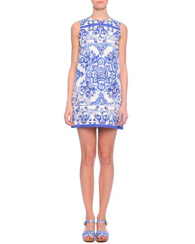 Tile-Print Shift Dress