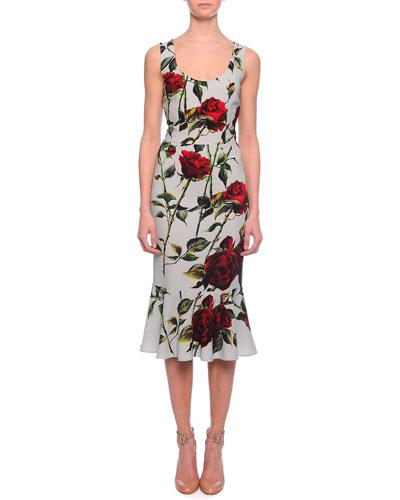 Scoop-Neck Rose-Print Flounce Dress