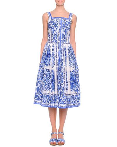 Scroll-Print Button-Front Dress