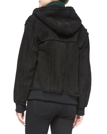 Hooded Shearling Bomber Jacket