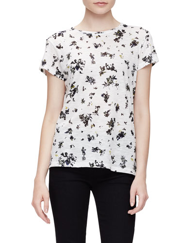Short-Sleeve Jewel-Neck Floral Tee, White/Black Floral