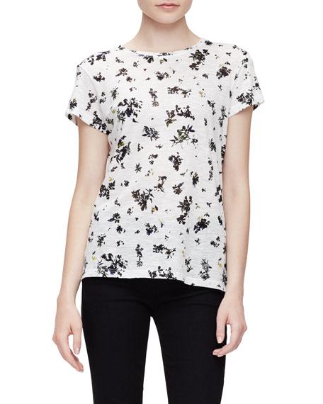 Proenza Schouler Short-Sleeve Jewel-Neck Floral Tee, White/Black