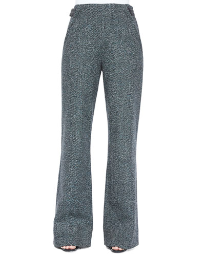 Speckled Tweed Wide-Leg Pants