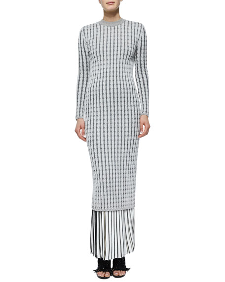 Proenza Schouler Long-Sleeve Cable-Knit Button-Back Dress