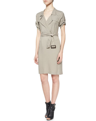 Short-Sleeve Wrap Trench Dress