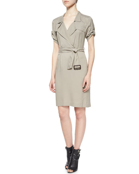 Burberry Brit Short-Sleeve Wrap Trench Dress