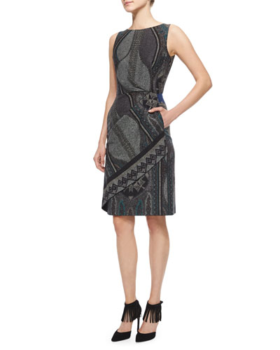 Faux-Wrap Mixed-Print Dress