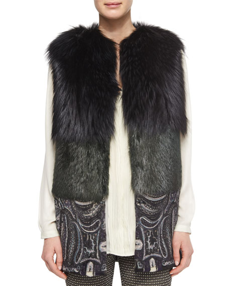 Etro Two-Tone Fur Vest with Paisley-Print Contrast