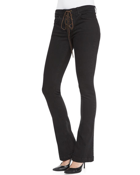 Etro Lace-Up Front Denim Flared Jeans