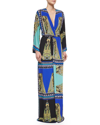 Square-Print Surplice Pleated Gown