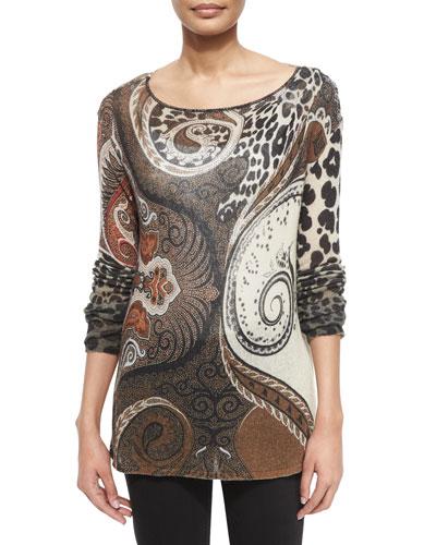 Leopard-Print Gauze Sweater