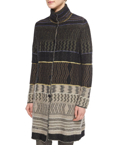 Patchwork Cashmere-Blend Zigzag-Print Sweater Coat