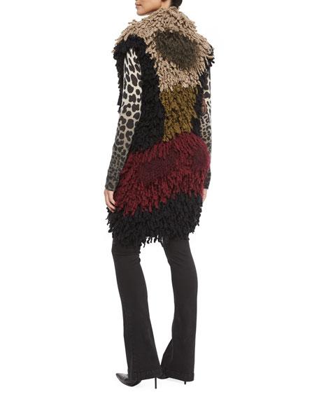 Colorblock Twisted Weave & Fur Vest