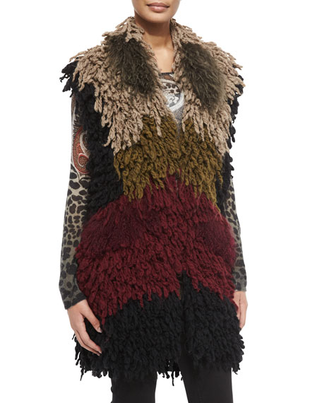 Etro Colorblock Twisted Weave & Fur Vest