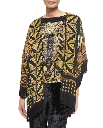 Printed Silk Jacket with Fringe