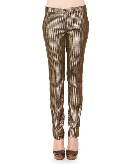 Herringbone Brocade Skinny Pants