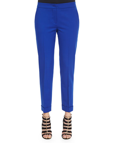 Stretch-Crepe Cuffed Capri Pants