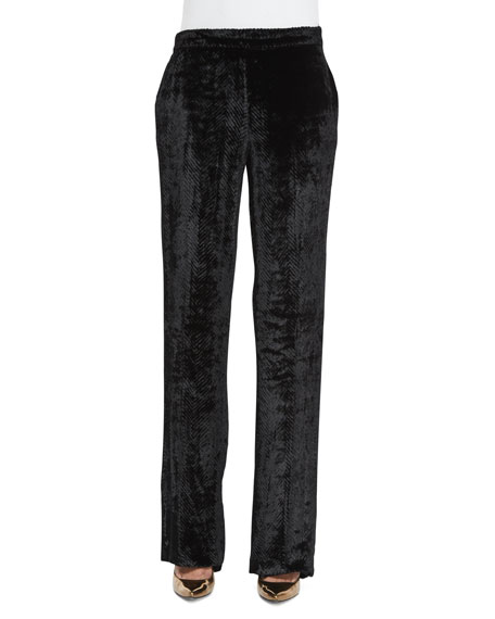 Etro Chevron Velvet Pull-On Pants, Black