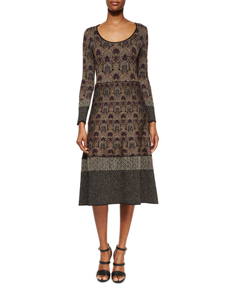 Etro Contrast-Trimmed Damask-Print Midi Dress