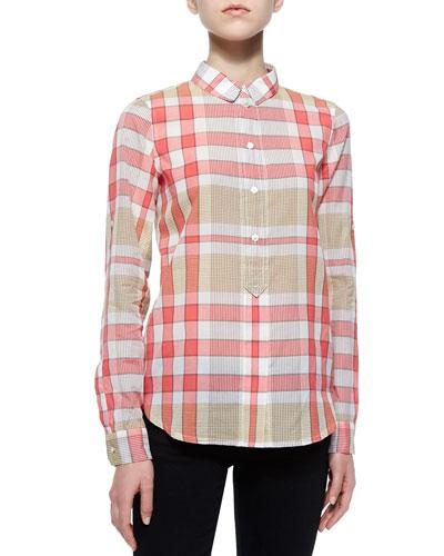 Long-Sleeve Check Shirt, Crimson Pink
