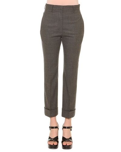 Cropped Flannel Pants, Gray Melange