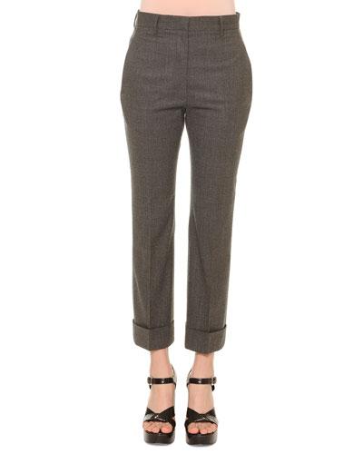 Cropped Flannel Pants, Gray Melange