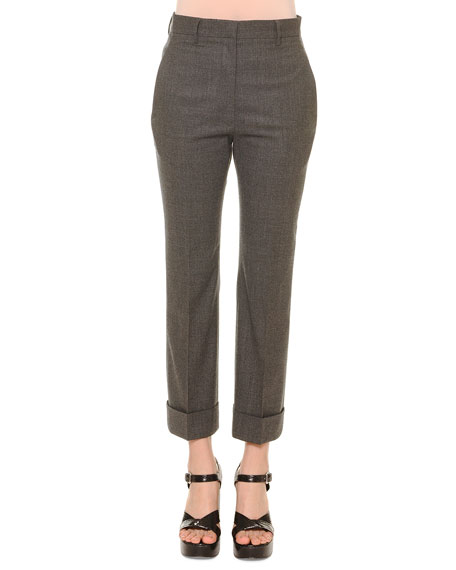 Jil Sander Cropped Flannel Pants, Gray Melange