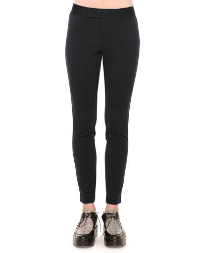 Zip-Front Skinny Leggings, Navy
