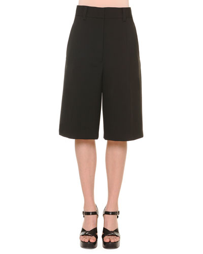 Gabardine Low-Pocket Bermuda Shorts