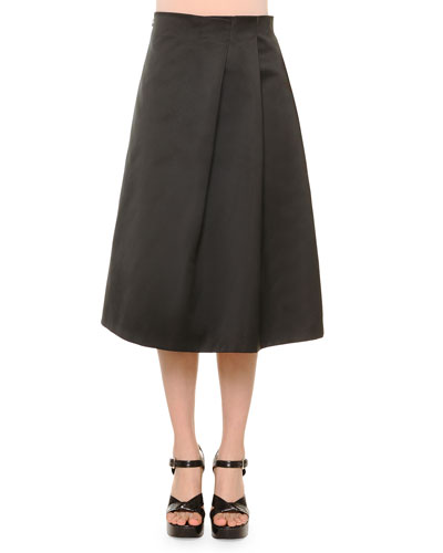 No-Waist Soft-Pleat Satin Skirt, Navy