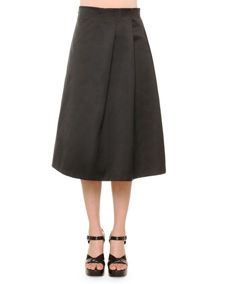 Jil Sander No-Waist Soft-Pleat Satin Skirt, Navy