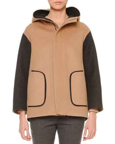 Two-Tone Hooded Parka, Camel/Gray