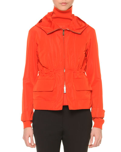 Zip-Front Hooded Parka, Coral