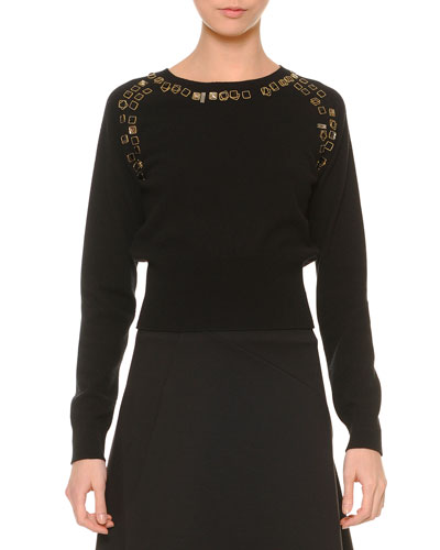 Cashmere Embellished Dolman-Sleeve Sweater