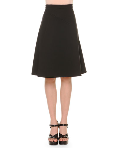 A-Line Bias-Seam Skirt, Black