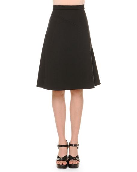 Jil Sander A-Line Bias-Seam Skirt, Black