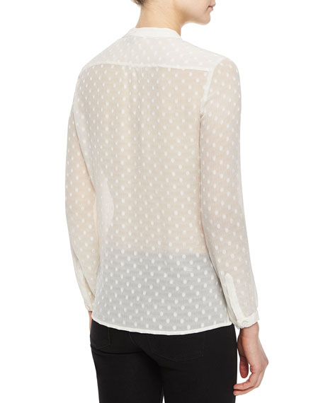 Long-Sleeve Dotted Silk Pleated-Front Shirt