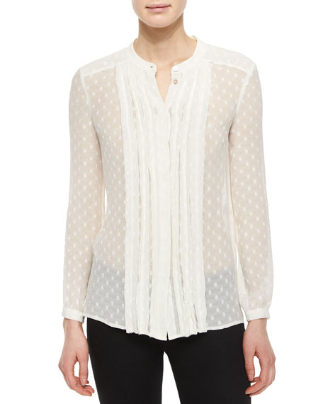 Burberry Brit Long-Sleeve Dotted Silk Pleated-Front Shirt