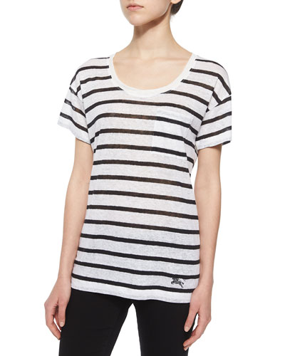 Short-Sleeve Striped Linen Boyfriend Tee, Black/White